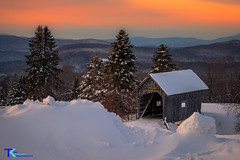 Foster Bridge Snowbank (Tim_NEK) Tags: vermont bridge coveredbridge winter cold evening