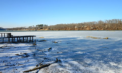 Oh Wicked Winter! (BKHagar *Kim*) Tags: bkhagar frozen elkriver river freeze freezing ice icy dock limestonecounty athens al alabama winter january cold coldest neighborsdock wood wooden boards dilapidated