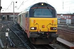 Colas 67027 & 67023 arriving at Warrington Bank Quay (Powerhaul70Pey) Tags: colas rail 67023 67027 stella charlotte warrington cheshire freight train locomotive railway bootle