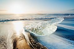 Heart on Diamond Beach (Geoff Sills) Tags: diamond beach ice iceberg jokulsarlon lagoon sunset sunrise winter clear water heart love romantic long exposure iceland europe nikon d700 1424 1424mm 28 wide angle landscape valentines
