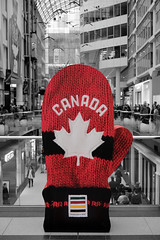 Team Canada (exposphotography) Tags: team canada winter olympics 2018 fuji eaton centre mall thebay bay mittens hudsons red selective color exposphotography expos 1855mm blackandwhite toronto canadian maple
