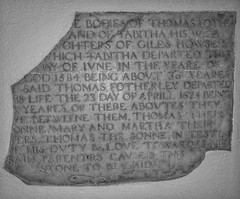 Memorial stone damaged when it was moved from the Chancel floor (IanAWood) Tags: churchofstmarythevirgin rickmansworth hertfordshire cofe hertfordshirechurches churchofengland oldchurches churchinteriors androidphotography cameraphonephotographer mobilesnaps capturedonp9 huaweip9 editedinsnapseed seenonmytravels notwalkingwithmynikon