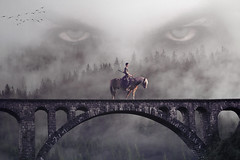 Guardian (chiaralily) Tags: chiaralily photoshop manipulation fantasy creepy mystery rider horse woman bridge forest mountains fog clouds tutorial redheadstock obsidiandawn