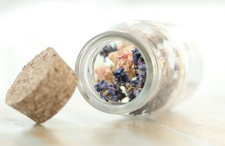 Dried flowers in a bottle