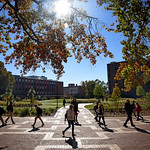Students walk to class on North Campus at the Brickyard, near the space where Harrelson Hall used to be in fall 2017.