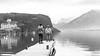 S'imprégner du lieu (Elyane11) Tags: lac annecy menthonstbernard rencontre netb brume palace rêverie ponton reflets