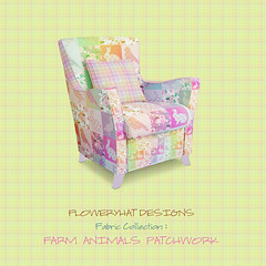 Farm-animal-pink-orange-chair-by-floweryhat (FLOWERYHAT DESIGNS) Tags: floweryhat spoonflower sewing stiching pastel fabric fabrics baby children chair cotton cushion mockup cute yellow polyester upholstery upcycling pink patchwork duck goose multicolor plaid farm animals rabbit room rainbow armchair pod pillow print printondemand