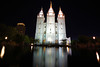 Salt Lake City by night. Mormon Temple & its reflection (Andrey Sulitskiy) Tags: usa utah saltlakecity