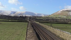 185114 rounds the curve away from Edale with the 1B76 Manchester Airport to Cleethorpes, 15th Feb 2018. (Dave Wragg) Tags: 185114 class185 desiro tpe firsttranspennineexpress 1b76 dmu railcar edale derbyshire valeofedale hopevalleyline railway