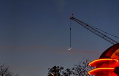 A crane and the moon (PeterThoeny) Tags: toontown disneyland anaheim california moon crane night hdr 1xp raw nex6 sel50f18 photomatix qualityhdr qualityhdrphotography fav100