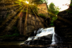 Wells Falls (J and A's Photography) Tags: water waterfall sun rays beautiful trees cny cayuga usa long exposure abandon old