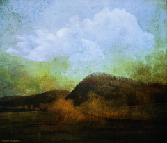 illusion... (elle Q1) Tags: textured landscape original digital image photo art sky hills tree river vintage old distressed unreal abstracted clouds nature outdoors sunlight illusion