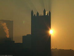 Burn (Don Henderson) Tags: ppgplace morningsun pittsburgh alleghenycounty pennsylvania skyscrapers downtown fujifilm s5200
