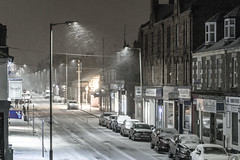 Brook Street in the snow (Chris B70D) Tags: broughty ferry streets snow brook street first floor home flat window view zoom late night weather extreme roads cars parked icy winter storm buildings houses chimneys lights streelight lamp post texture silent raw edit canon 70d chris berridge photography dundee scotland east coast visitscotland goodnight