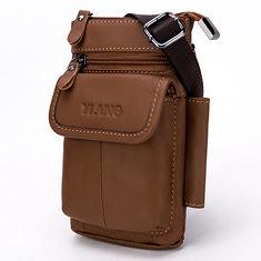Men Genuine Leather Multifunction Waist Bag Belt Phone Bag Wallet Case (1159625) #Banggood (SuperDeals.BG) Tags: superdeals banggood bags shoes men genuine leather multifunction waist bag belt phone wallet case 1159625