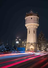 Water reservoir tower, Wr. Neustadt, Austria (alexanderferdinand) Tags: stadtpark nacht architektur nightshot gitzo tripod ef2470mmf28liiusm canoneos5dmarkiv reallyrightstufflbracket architecture lighttrails