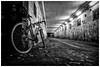 Back In The Saddle (ianrwmccracken) Tags: bicycle tunnel chain graffiti gear underpass bike light tricross leaves glenrothes urban scotland monochrome concrete ianmccracken dark specialized fife tarmac bw a6000 sony wheel