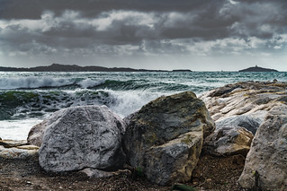 Stones and stormy Sea