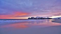 Sunrise across the beach (Rudi Verspoor) Tags: lofoten norway clouds sunrise colours pink sand seascape sea ocean vista landscape nikon d7200 wideangle 1020mm europe morning february cold winter longexposure