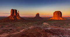 Last light on the West and East Mittens and Merrick Butte (sarahOphoto) Tags: monument valley navajo park tribal arizona utah usa oljatomonumentvalley unitedstates us west mitten butte united states america indian sunset sandstone sand orange landscape sky nature clouds canon 6d desert east merrick buttes