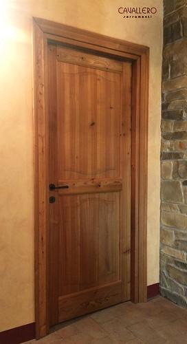 Porta interna 2 pannelli in legno di larice BIO termotrattato