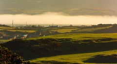 Mist over the estuary. (alex.vangroningen) Tags: northwales nikond2h nikon70300mmvr mountains sea hills farm bus