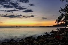 Ocaso...!!! (Nita_Fotos) Tags: sun sundown clouds blue orange sol atardecer nubes naranja cielo mountain montañas reflection reflejos trees arboles agua backligh contraluz •trees stones rocas lecheria venezuela tuniñasalvajedelaselva