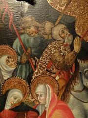ca. 1425-1435 - 'Crucifixion' (Bernat Despuig & Jaume Cirera), Barcelona, Mullany Haute Epoque Fine art (London), BRAFA, Brussels, Belgium (RO EL (Roel Renmans)) Tags: 1425 1430 1435 crucifixion calvary calvaire kreuzigung kruisiging christus christ jesus jesu bernat despuig jaume cirera barcelona spanish catalan panel gothic painting brafa brussels bruxelles brussel armour armor rüstung kettle helmet barbuta barbute plate mullany haute epoque fine art london spain espagne gotique surcoat armadura hat chapel de fer fair helm armure feather bevor neckplate neck chin
