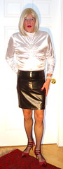 Satin blouse! (donnacd) Tags: sissy tgirl tgurl dressing crossdress crossdresser cd travesti transgenre xdresser crossdressing feminization tranny tv ts feminized domina donna legs white satin blouse blonde black leather skirt pantyhose fishnet hair touchy feely he she look 易装癖 シーメー mosaic
