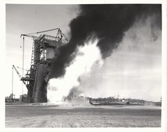 a_v_bw_o_n (MSFC photo, 6-36200) (apollo_4ever) Tags: gantrycrane spacerace rocketengine testfiring flame dramatic power thrust saturnv saturnvlaunchvehicle saturn5rocket saturnvrocket firststage boosterstage apollo4 apolloiv msfc marshallspaceflightcenter massive sicstage f1rocketengine f1rocketengines statictestfiring staticteststand projectapollo apolloprogram apollospaceprogram glossyphoto blackandwhite