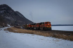 Along the River (Nick Brown Photography) Tags: train railroad railfanning locomotive emd sd70ace bnsf wisconsin