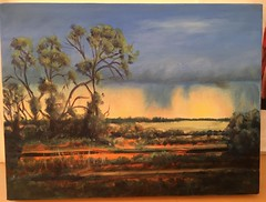 Sunset in the Australian outback - Original painting (Marian Pollock) Tags: australia painting oil oilpainting outback art original landscape scenery redearth scrub bush sunset victoria