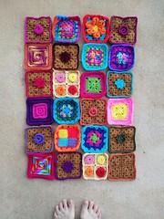 Twenty-four five-inch crochet squares (crochetbug13) Tags: crochetbug crochet crocheted crocheting crochetsquares grannysquares crochetflowers