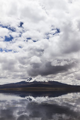 Lago Chungará (José Antonio Morales) Tags: lake chungara chile bolivia altiplano canon sl1 clouds cloudy mirror reflection volcano snow