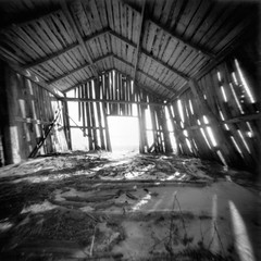Chilly and draughty (Foide) Tags: pinhole pinholecamera f160 realitysosubtle barn inside