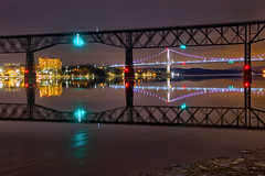 An Icy Night on the Hudson River (SunnyDazzled) Tags: longexposure night ice icy winter cold purple sky frozen walkwayoverthehudson pedestrian railroad bridge fdr midhudson hudson river poughkeepsie lights sparkling reflections water