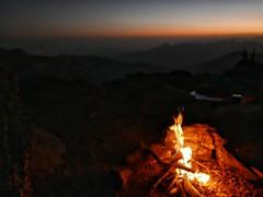 Camp fire on Jebel Shams.