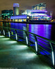 Media City-9 (andyyoung37) Tags: manchester manchestershipcanal mediacity nighttime salfordquays uk waterreflections bridge lightreflections