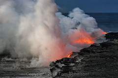 Sea to Steam (pdxsafariguy) Tags: hawaii lava ocean steam sparks volcano nature hot landscape geology smoke eruption danger heat kilauea water sea adventure usa fire dangerous explosion basalt nationalpark dawn usnationalpark tomschwabel