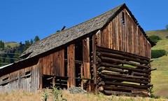 Old Barn (maytag97) Tags: maytag97 nikon d750 barn pole log structure rural old rustic blue sky weathered worn wood