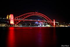 RED (edzwa) Tags: sydney newsouthwales australia au chinesenewyear canon6dmarkii red lights longexposure sydneyharbourbridge water reflection sundaylights