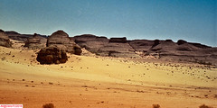 Few steps away from the trail, on soft sands. (DelioTO) Tags: al jouf antiquities c41 desert ksa landscape medain saleh nabataean natparks northwestksa trails winter pinhole