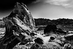 Mysterious Alien Planet (thedot_ru) Tags: movie film location scifi fiction unreal surreal unique rocks formations beautiful mountains blackandwhite monochrome bw mountwhitney california usa america unitedstates travel travelling filming adenture wanderlust canon5d 2010