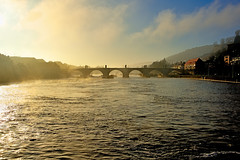 Morning Glow (WilliamND4) Tags: morning sun clouds water river bridge haze germany nikon d810