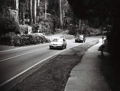 Mount Dandenong Tourist Road (Matthew Paul Argall) Tags: jcpenneyelectronicstrobepocketcamera 110 110film fixedfocus focusfree blackandwhite blackandwhitefilm grainyfilm 100speedfilm 100isofilm subminiaturefilm lomographyfilm road street mountdandenong mountdandenongtouristroad