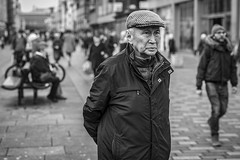 The Seeker (Leanne Boulton) Tags: people portrait urban street candid portraiture streetphotography candidstreetphotography candidportrait streetportrait streetlife old man male face expression eyes cap look emotion mood feeling tone texture detail depthoffield bokeh naturallight outdoor light shade city scene human life living humanity society culture canon canon5d 5dmkiii 70mm ef2470mmf28liiusm black white blackwhite bw mono blackandwhite monochrome glasgow scotland uk