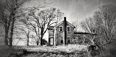 some wounds never heal... (BillsExplorations) Tags: abandoned abandonedhouse decay ruraldecay forgotten wounds farmhouse farm abandonedillinois oncewashome rural blackandwhite monochrome shuttered snapseed