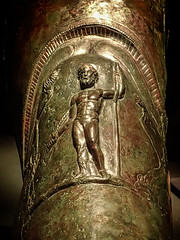 Closeup of a relief on a gladiator's greaves recovered from the barracks in Pompeii 1st century CE (mharrsch) Tags: greaves armor armour gladiator relief ancient bronze pompeii roman 1stcenturyce exhibit omsi portland oregon mharrsch