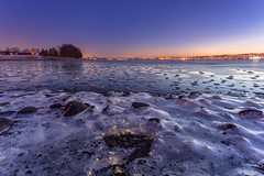 Frosty Rocks at Low Tide (Kurt Evensen) Tags: landscape winter nature water frost le nightphoto shore light vestfold rocks norway longexposure blue beach nightsky bluehour sea nightlights tønsberg sky seascape nightphotography reflections cold ice no