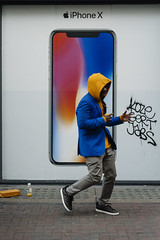 Dancing Shoes 129/156 (markfly1) Tags: london soho advertising board colour match iphone x gold yellow red blue grey black white pink graffiti nikon d750 50mm nikkor prime lens photography lost music comedy street candid